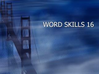 WORD SKILLS 16