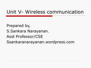 Unit V- Wireless communication