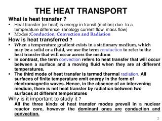 THE HEAT TRANSPORT