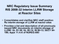 NRC Regulatory Issue Summary RIS 2008-32 Interim LLRW Storage at Reactor Sites