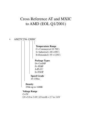 Cross Reference AT and MXIC to AMD (EOL Q1/2001)
