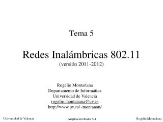 Tema 5 Redes Inal�mbricas 802.11 (versi�n 2011-2012)