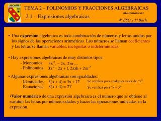 2.1   Expresiones algebraicas