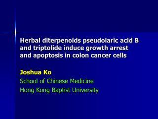 Joshua Ko School of Chinese Medicine Hong Kong Baptist University