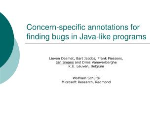 Concern-specific annotations for finding bugs in Java-like programs