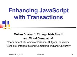 Enhancing JavaScript with Transactions