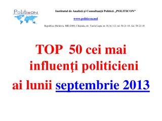 TOP  50 cei mai influenţi politicieni  ai lunii  septembrie 201 3