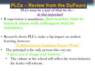 PLCs � Review from the DuFours