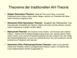 Theoreme der traditionellen AH-Theorie