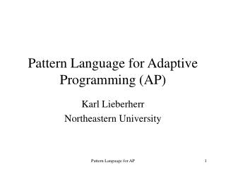 Pattern Language for Adaptive Programming (AP)