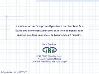 La modulation de l'apoptose dépendante du récepteur Fas :