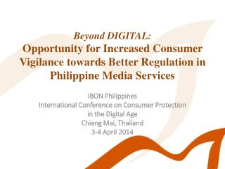 IBON Philippines International Conference on Consumer Protection  in the Digital Age