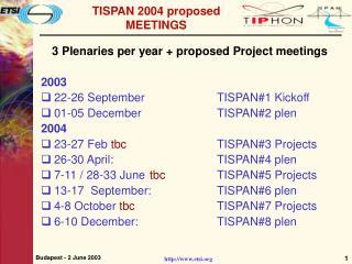 TISPAN 2004 proposed MEETINGS