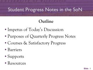 Student Progress Notes in the SoN