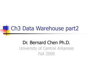 Ch3 Data Warehouse part2