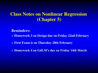 Class Notes on Nonlinear Regression  (Chapter 5)