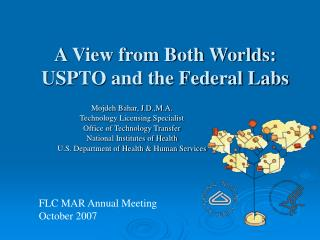 A View from Both Worlds:  USPTO and the Federal Labs