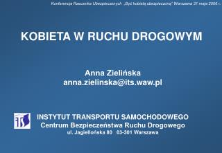 Anna Zielińska anna.zielinska@its.waw.pl  INSTYTUT TRANSPORTU SAMOCHODOWEGO