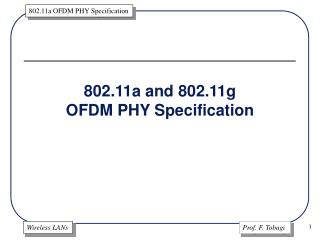 802.11a and 802.11g OFDM PHY Specification