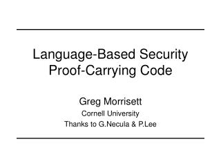 Language-Based Security Proof-Carrying Code