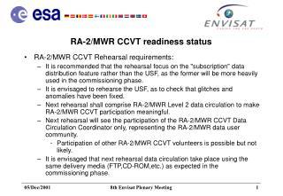 RA-2/MWR CCVT readiness status