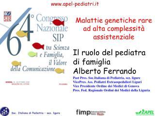 Il ruolo del pediatra  di famiglia Alberto Ferrando Past Pres. Soc.Italiana di Pediatria, sez. ligure VicePres. Ass. Ped