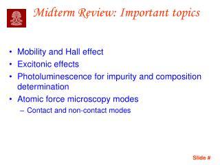 Midterm Review: Important topics