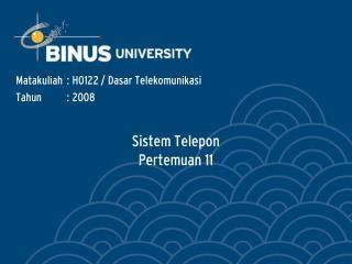 Sistem Telepon Pertemuan 11