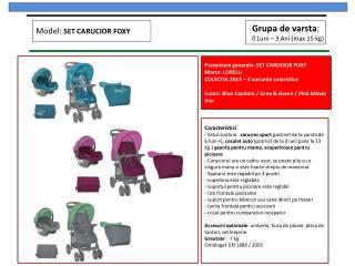 Prezentare generala : SET CARUCIOR FOXY Marca : LORELLI COLECTIA 2013 – 3  variante coloristice