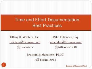 Time and Effort Documentation             Best Practices