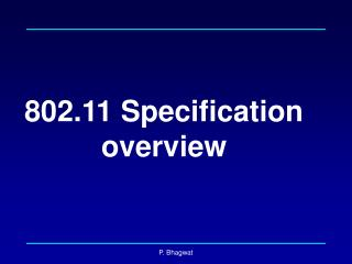 802.11 Specification overview