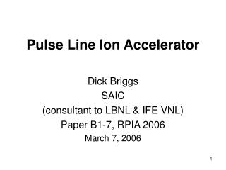 Pulse Line Ion Accelerator