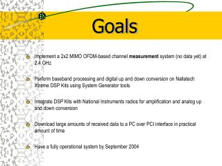 Implement a 2x2 MIMO OFDM-based channel  measurement  system (no data yet) at 2.4 GHz
