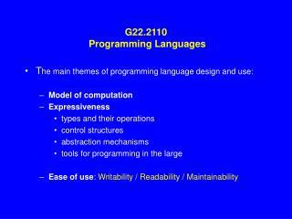 G22.2110  Programming Languages