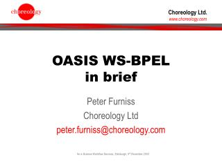 OASIS WS-BPEL in brief