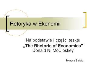 Retoryka w Ekonomii