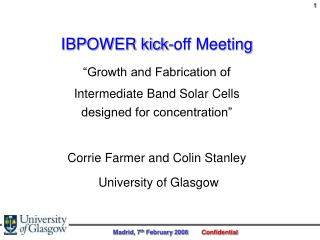 """IBPOWER kick-off Meeting """"Growth and Fabrication of"""