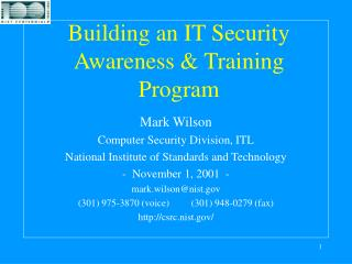 Building an IT Security Awareness  Training Program