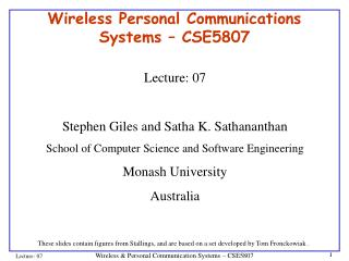 Wireless Personal Communications Systems � CSE5807