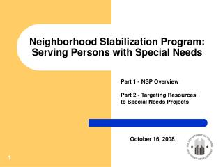 Neighborhood Stabilization Program: Serving Persons with Special Needs