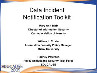 Data Incident  Notification Toolkit