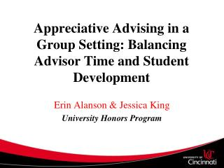 Appreciative Advising in a Group Setting: Balancing Advisor Time and Student Development