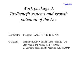 Work package 3.  Tax/benefit systems and growth potential of the EU