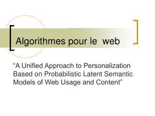 Algorithmes pour le  web