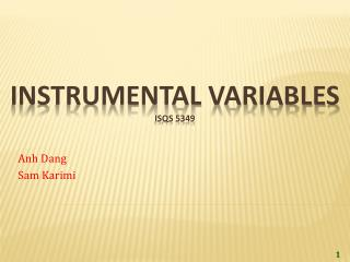 Instrumental Variables ISQS 5349