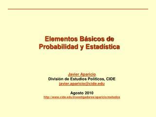 Elementos Básicos de  Probabilidad y Estadística