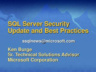 SQL Server Security  Update and Best Practices