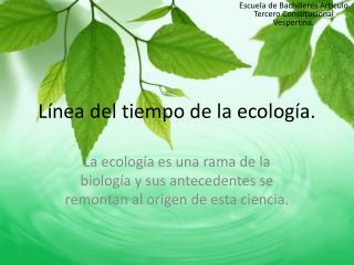 Línea del tiempo de la ecología.