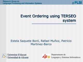 Event Ordering using TERSEO system