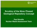 Scrutiny of the Nirex Phased Geological Repository Concept